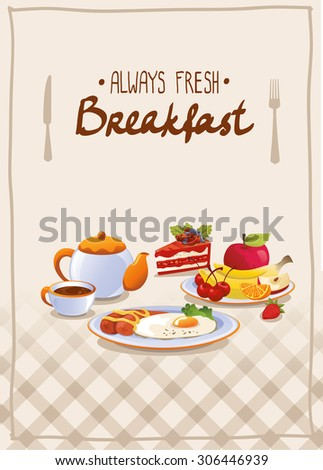 Breakfast poster with egg, fruits and tea.