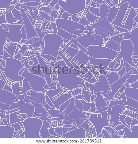 Breakfast  seamless doodle vector pattern hand drawn - stock vector