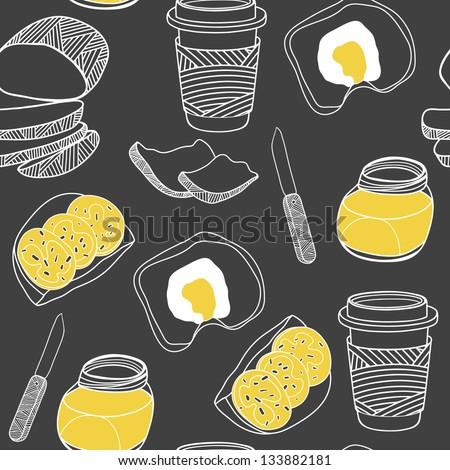 Breakfast seamless pattern. Cartoon vector illustration on the black background - stock vector