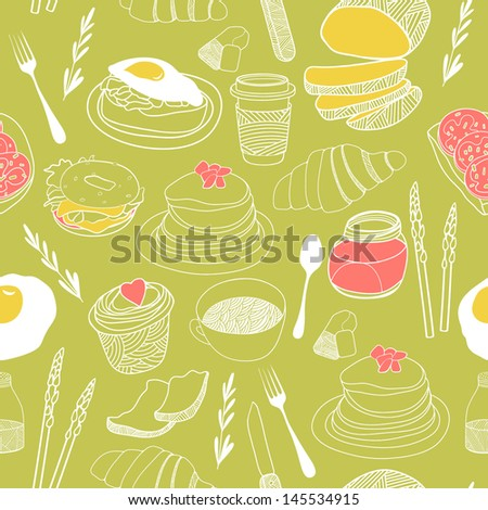 Breakfast seamless pattern. Hand drawn vector theme. Good for backgrounds, fabric, kitchen and cafe stuff - stock vector