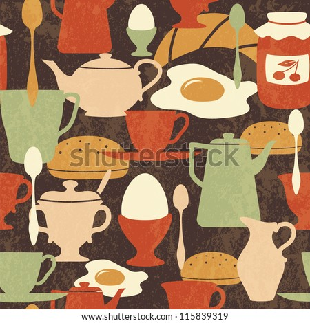 Breakfast seamless pattern with traditional food and drinks - stock vector