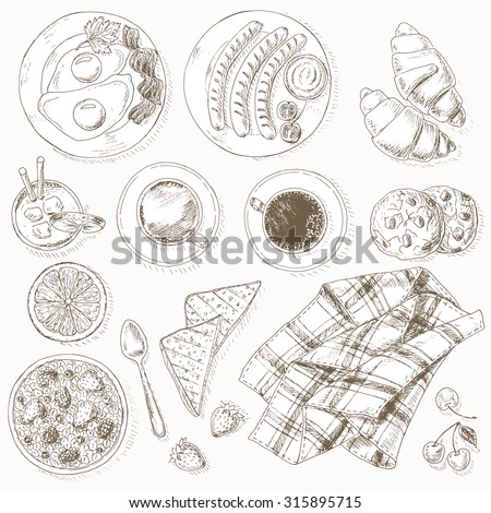Breakfast set. Healthy food. Vintage hand drawn vector background. - stock vector