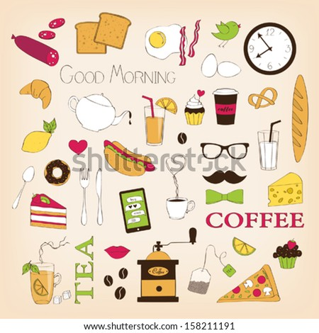 Breakfast set icons - stock vector