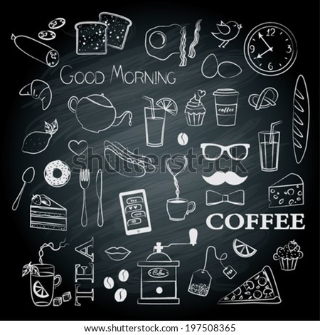 Breakfast set icons on the chalkboard  - stock vector