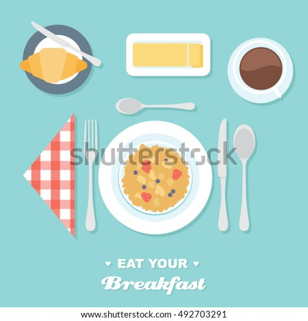 Breakfast table setting with cereal flat vector illustration  sc 1 st  Shutterstock & Breakfast Table Setting Cereal Flat Vector Stock Photo (Photo ...