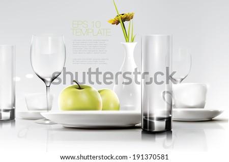Breakfast tableware. Editable vector graphic. - stock vector