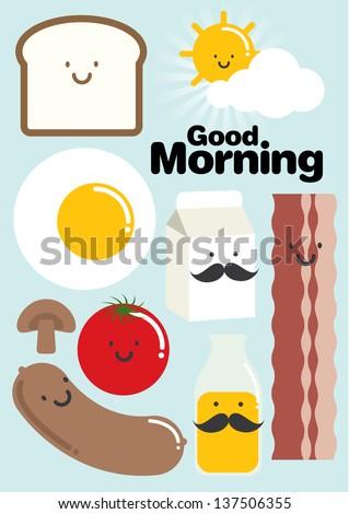 breakfast template vector/illustration - stock vector