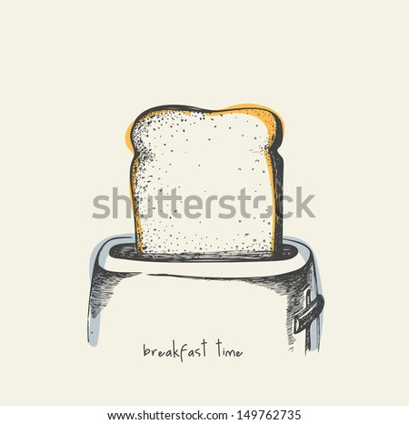 Breakfast time - drawing - stock vector