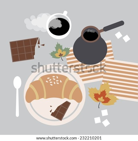 Breakfast with coffee and croissant illustration - stock vector