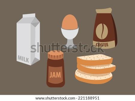 breakfast with coffee, bread, jam, milk, egg. vector illustration - stock vector
