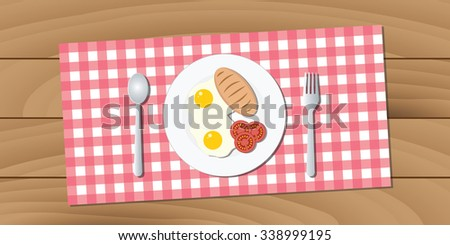 breakfast with plate, fork, spoon, egg, bread, and tomato - stock vector