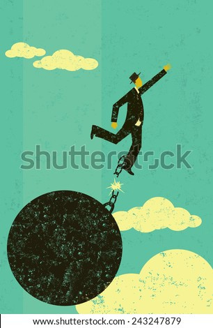 Breaking free from the ball and chain A businessman escaping from his ball and chain. The man with ball & chain and the background are on separately labeled layers. - stock vector