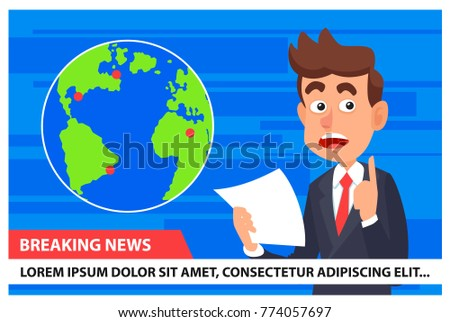 Breaking News Anchor TV Earth Map Stock Vector (Royalty Free ...