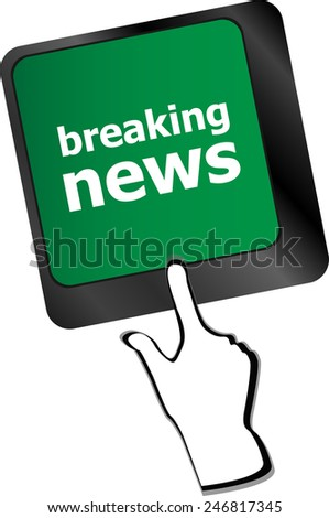breaking news button on computer keyboard pc key - stock vector