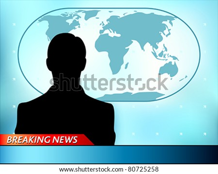 Breaking news tv background with man reporter - stock vector