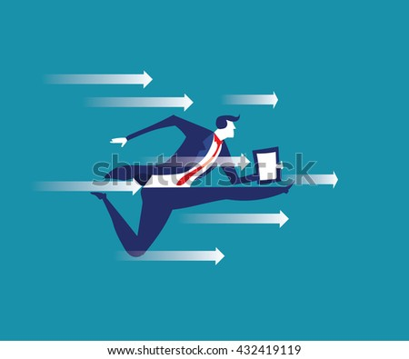 Breakthrough. Busines concept illustration. Manager breaking the wall - stock vector