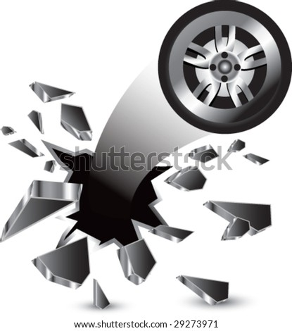 breakthrough tire isolated - stock vector