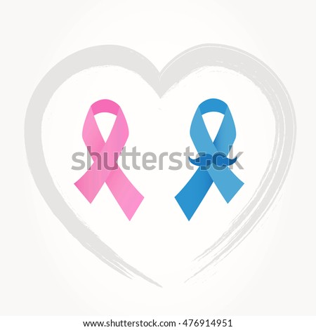 Breast Prostate Cancer Awareness Ribbons Pink Stock Photo Photo