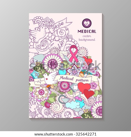 Breast awareness month colorful doodle illustration. Medical Background with pink  ribbon, dove, women and men icons, heart, abstract breast, medicine bottle and pills.
