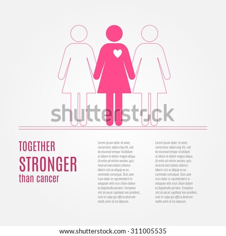 Breast Cancer Awareness Background. Vector elements and inspirational quotes. Thin line symbols. Hand drawn illustration with place for your text.  - stock vector