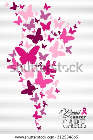 Breast cancer awareness campaign composition: pink butterfly and ribbon elements. Illustration for poster, flyer or website. EPS10 vector file. - stock vector