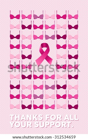 Breast cancer awareness campaign poster with thanks for all your support text over pink dot background. Includes bra and ribbon element on center. EPS10 vector file. - stock vector