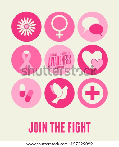 Breast Cancer Awareness card design with different symbols in pink. - stock vector