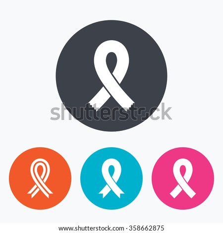 Breast cancer awareness icons. Ribbon sign symbols. Circle flat buttons with icon. - stock vector