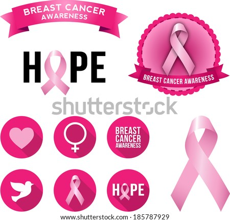 Breast Cancer Awareness Icons 2. Set of vector graphic images and flat icons highlighting the cause for breast cancer awareness. - stock vector