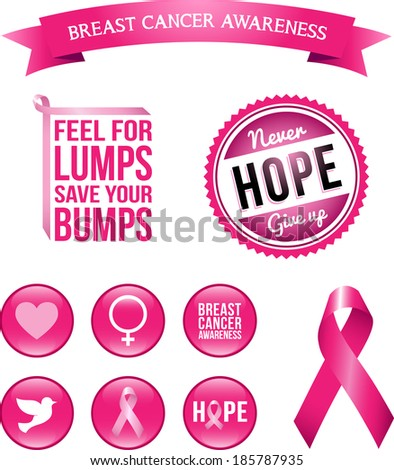 Breast Cancer Awareness Icons 1. Set of vector graphic images and glossy icons highlighting the cause for breast cancer awareness. - stock vector