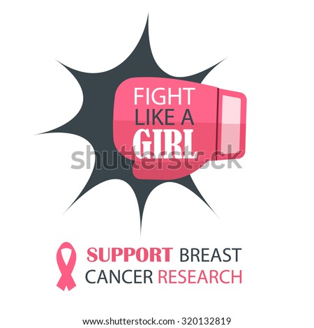 Breast cancer awareness month vector with fighting boxing glove, illustration. Fight like a girl. Support breast cancer research text. - stock vector