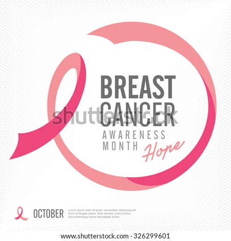 Breast cancer awareness pink ribbon background,vector illustration - stock vector