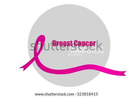 Breast cancer awareness pink ribbon, healthcare and medicine concept. Vector Illustration.