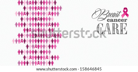 Breast cancer awareness ribbon care elements and women figures composition. Vector file organized in layers for easy editing.   - stock vector