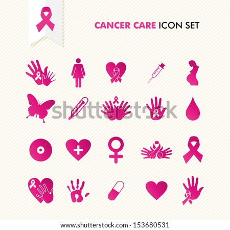Breast cancer awareness ribbon symbol and health care elements icons set. EPS10 vector file organized in layers for easy editing. - stock vector