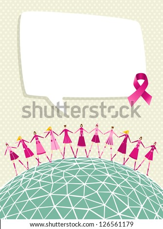 Breast cancer care global awareness with speech bubble and women teamwork. Vector file layered for easy manipulation and custom coloring. - stock vector