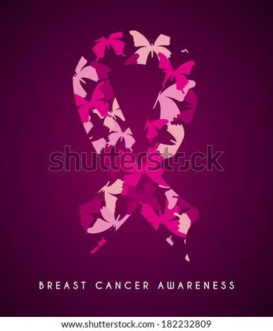 Breast cancer design over purple background, vector illustration - stock vector