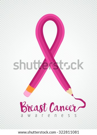 Breast cancer education concept poster with pink pencil as ribbon for awareness month. EPS10 vector. - stock vector