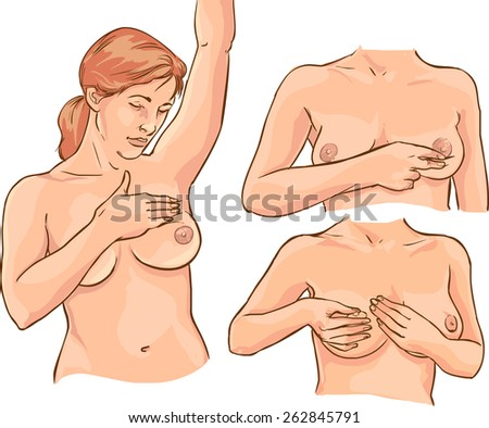 breast examination - stock vector
