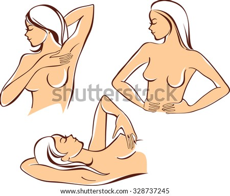 Breast self-exam - stock vector