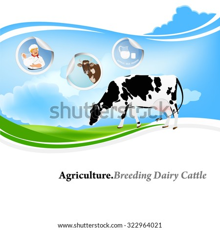 Breeding dairy Cattle.Agriculture.Vector background label - stock vector