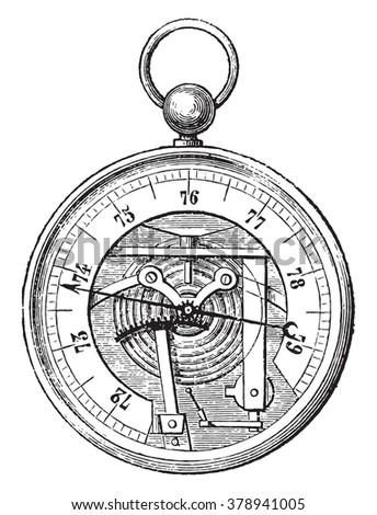 Breguet Barometer, vintage engraved illustration. Magasin Pittoresque 1873. - stock vector