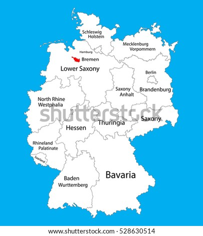 Bremen State Map Germany Vector Map Stock Vector 528630514