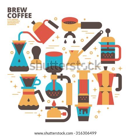 Brew Coffee, Flat Design, Illustration - stock vector