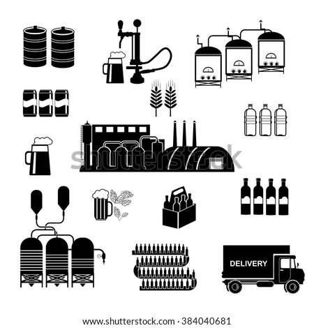 Brewery infographics - beer design elements, labels, symbols, icons . - stock vector
