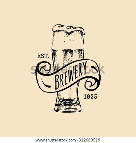 Brewery logo. Vector vintage brewery logo. Retro logotype with beer. Brewery sign. Beer icon. Old brewery. Beer label. Brewery sketch. Beer bar. Brewery background. Craft beer. Beer  illustration.  - stock vector