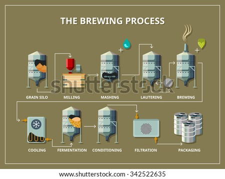 Brewery process infographic flat style. Production beer, alcohol and grain, silo and milling, mashing and lautering, vector illustration - stock vector