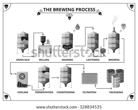 Brewery production process vector infographics template.  Fernentation and conditioning, filtration and packing illustration - stock vector
