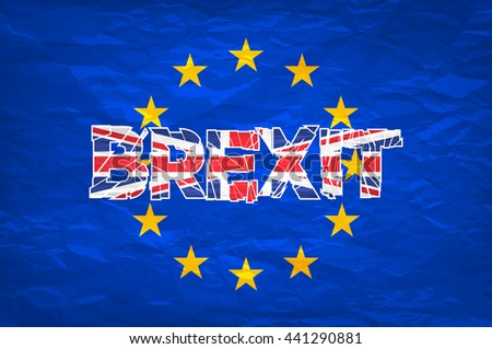 Brexit. Flags of the United Kingdom and the European Union to illustrate possible exit of Great Britain from the EU art vector - stock vector