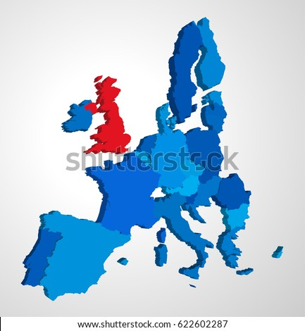 Brexit vector map 3 d rendering view vector de stock622602287 brexit vector map in 3d rendering view from the western side uk is highlighted gumiabroncs Gallery
